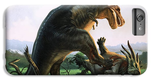 Tyrannosaurus Rex Eating A Styracosaurus IPhone 6 Plus Case by William Francis Phillipps