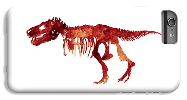 Tyrannosaurus Rex Skeleton Poster, T Rex Watercolor Painting, Red Orange Animal World Art Print IPhone 6 Plus Case by Joanna Szmerdt