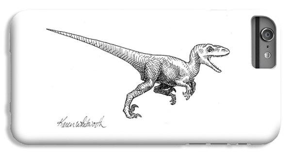 Velociraptor - Dinosaur Black And White Ink Drawing IPhone 6 Plus Case by Karen Whitworth