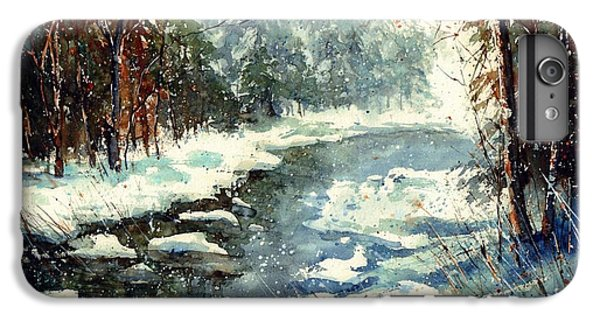 Sparrow iPhone 6 Plus Case - Very Cold Winter Watercolor by Suzann's Art