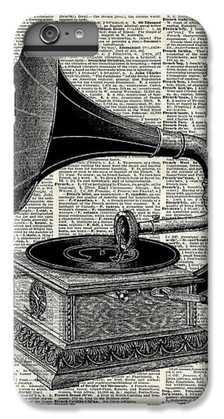 White iPhone 6 Plus Case - Vintage Gramophone by Anna W