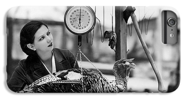 Vintage Holiday Card   Woman Weighing A Turkey Ahead Of The Holidays IPhone 6 Plus Case by American School