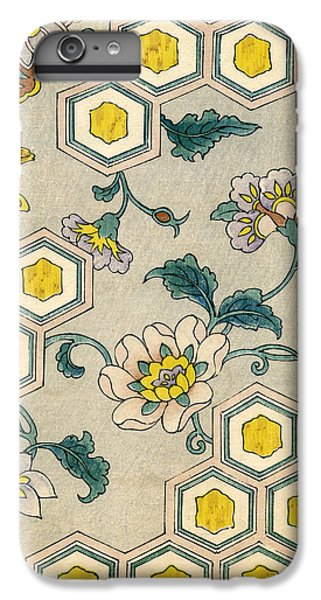 Vintage Japanese Illustration Of Blossoms On A Honeycomb Background IPhone 6 Plus Case