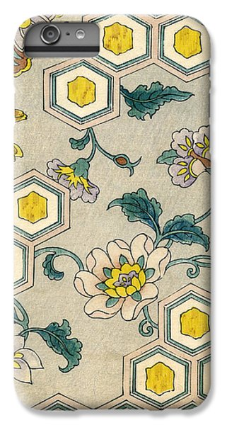 Flowers iPhone 6 Plus Case - Vintage Japanese Illustration Of Blossoms On A Honeycomb Background by Japanese School