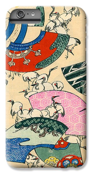 Vintage Japanese Illustration Of Fans And Cranes IPhone 6 Plus Case by Japanese School