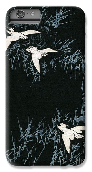 Vintage Japanese Illustration Of Three Cranes Flying In A Night Landscape IPhone 6 Plus Case by Japanese School