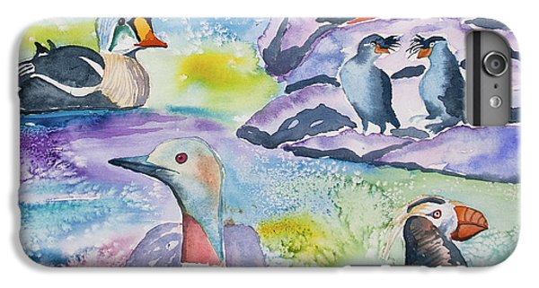 Auklets iPhone 6 Plus Case - Watercolor - Alaska Seabird Gathering by Cascade Colors