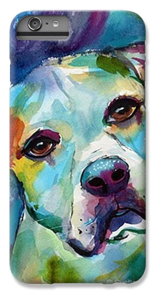 Colorful iPhone 6 Plus Case - Watercolor American Bulldog Painting By by Svetlana Novikova