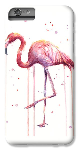 Watercolor Flamingo IPhone 6 Plus Case by Olga Shvartsur