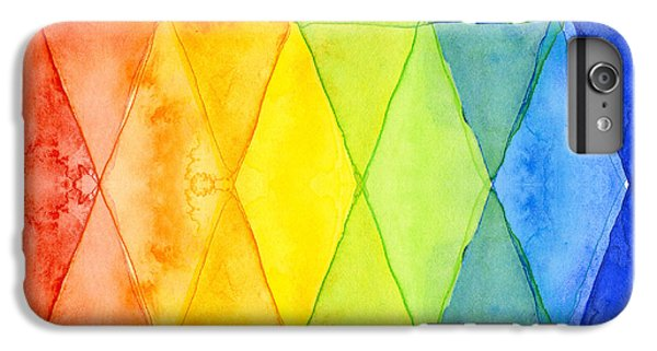 Watercolor Rainbow Pattern Geometric Shapes Triangles IPhone 6 Plus Case by Olga Shvartsur