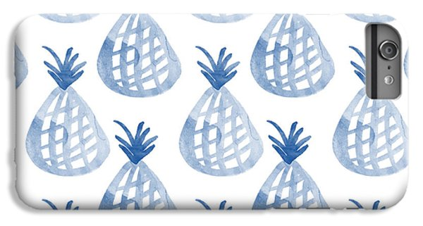 Fruit iPhone 6 Plus Case - White And Blue Pineapple Party by Linda Woods