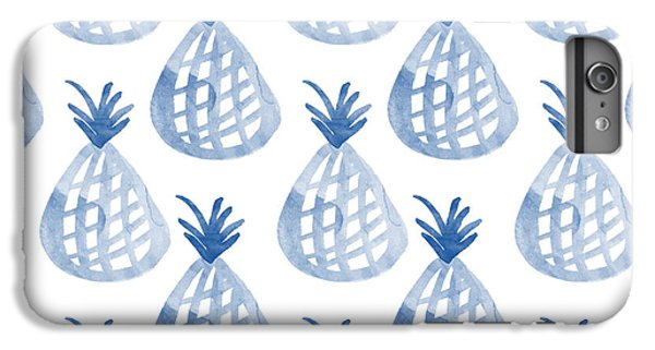 White And Blue Pineapple Party IPhone 6 Plus Case by Linda Woods