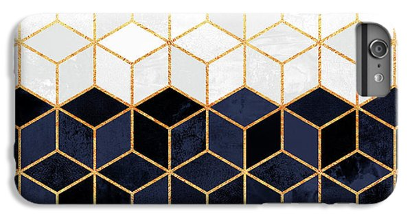 Blue iPhone 6 Plus Case - White And Navy Cubes by Elisabeth Fredriksson