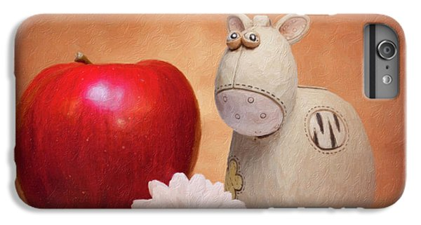 Daisy iPhone 6 Plus Case - White Horse With Apple by Tom Mc Nemar