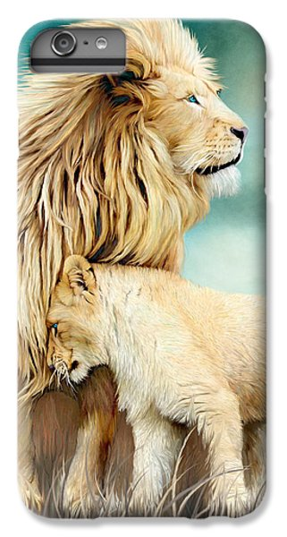 Lion iPhone 6 Plus Case - White Lion Family - Protection by Carol Cavalaris
