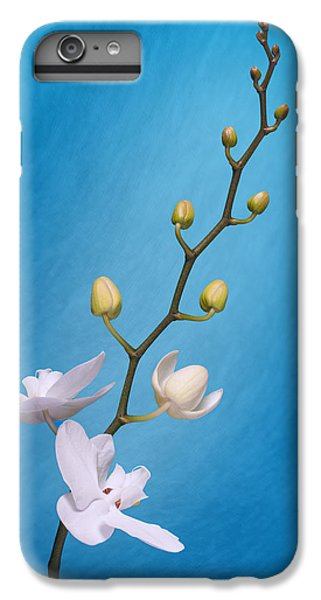 White Orchid Buds On Blue IPhone 6 Plus Case by Tom Mc Nemar