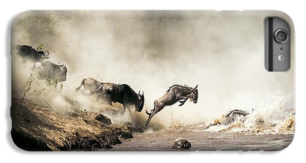 Wildlife iPhone 6 Plus Case - Wildebeest Leaping In Mid-air Over Mara River by Susan Schmitz