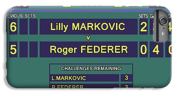 Venus Williams iPhone 6 Plus Case - Wimbledon Scoreboard - Lilly Markovic - 4-13 by Carlos Vieira
