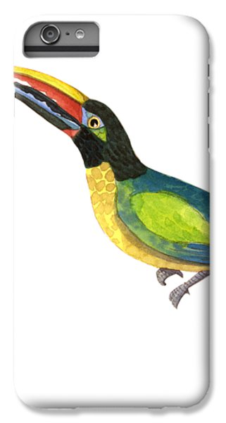 Toucan iPhone 6 Plus Case - Winged Jewels 2, Watercolor Toucan Rainforest Birds by Audrey Jeanne Roberts