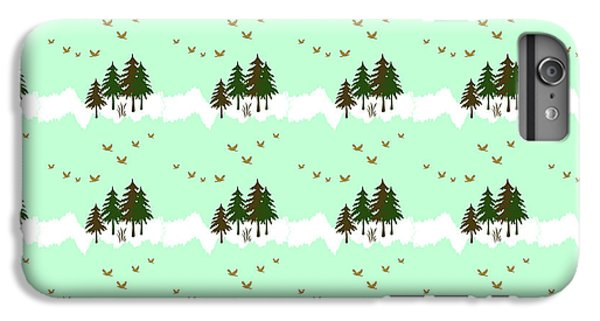IPhone 6 Plus Case featuring the mixed media Winter Woodlands Bird Pattern by Christina Rollo