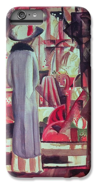 Woman In Front Of A Large Illuminated Window IPhone 6 Plus Case by August Macke