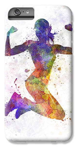 Workout iPhone 6 Plus Case - Woman Runner Jogger Jumping Powerful by Pablo Romero