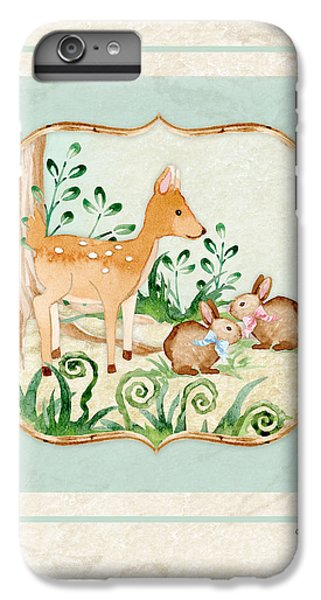 Deer iPhone 6 Plus Case - Woodland Fairy Tale - Deer Fawn Baby Bunny Rabbits In Forest by Audrey Jeanne Roberts
