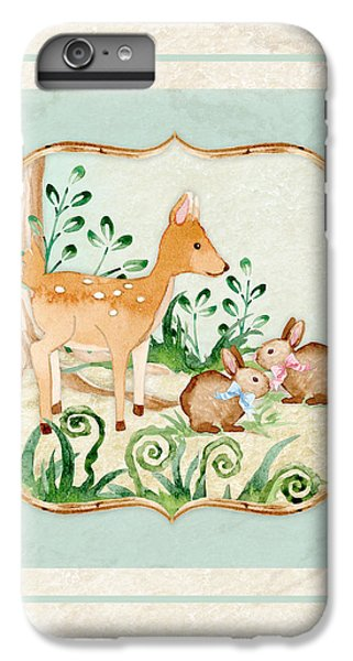Woodland Fairy Tale - Deer Fawn Baby Bunny Rabbits In Forest IPhone 6 Plus Case by Audrey Jeanne Roberts