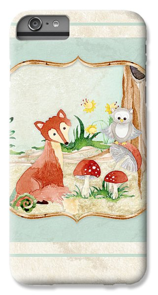 Woodland Fairy Tale - Fox Owl Mushroom Forest IPhone 6 Plus Case by Audrey Jeanne Roberts