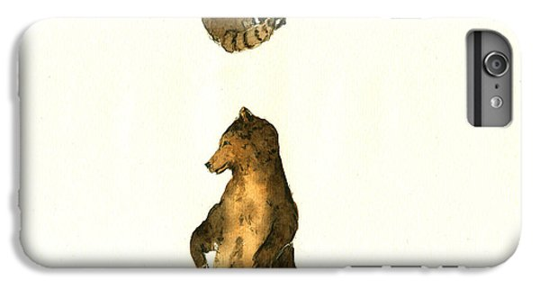 Raccoon iPhone 6 Plus Case - Woodland Letter I by Juan  Bosco