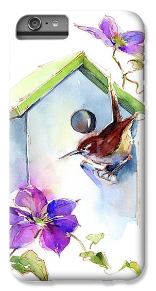 Wren With Birdhouse And Clematis IPhone 6 Plus Case