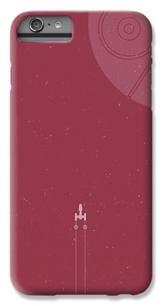 Space Ships iPhone 6 Plus Case - Y-wing Bomber Meets Death Star by Samuel Whitton