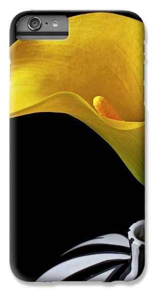 Yellow Calla Lily In Black And White Vase IPhone 6 Plus Case by Garry Gay