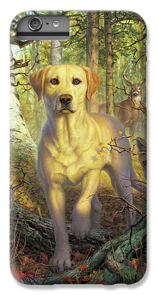 Squirrel iPhone 6 Plus Case - Yellow Lab In Fall by Mark Fredrickson