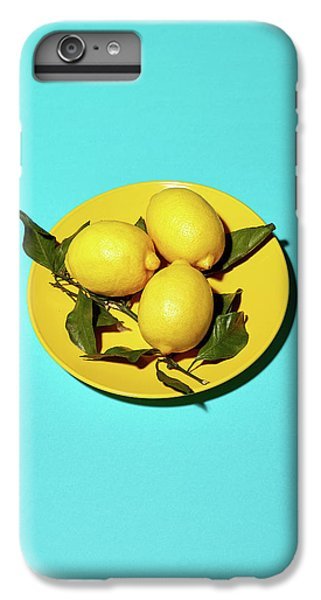 Yellow Lemons On Cyan IPhone 6 Plus Case by Oleg Cherneikin
