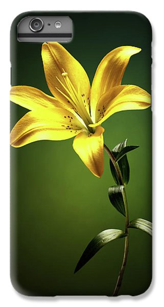 Lily iPhone 6 Plus Case - Yellow Lilly With Stem by Johan Swanepoel