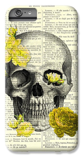 Floral iPhone 6 Plus Case - Skull With Yellow Roses Dictionary Art Print by Madame Memento