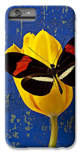 Tulip iPhone 6 Plus Case - Yellow Tulip With Orange And Black Butterfly by Garry Gay