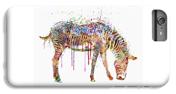 Zebra Watercolor Painting IPhone 6 Plus Case by Marian Voicu