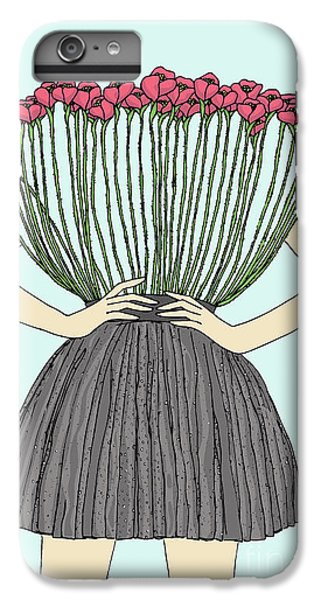 Floral iPhone 6 Plus Case - Beautiful Illustration Of Woman With by Marina Bh
