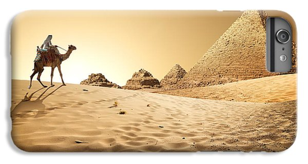 Africa iPhone 6 Plus Case - Bedouin On Camel Near Pyramids In Desert by Givaga