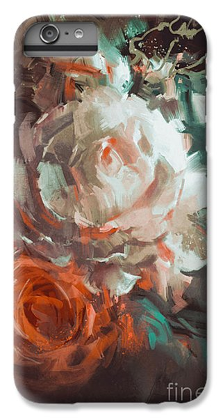 Floral iPhone 6 Plus Case - Bouquet Of Roses With Oil Painting by Tithi Luadthong