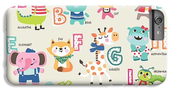 Lion iPhone 6 Plus Case - Cute Cartoon Animals Alphabet From A To by Littlewhale