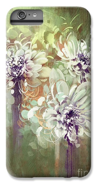 Floral iPhone 6 Plus Case - Digital Painting Of Abstract by Tithi Luadthong