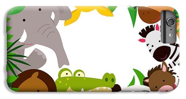 Lion iPhone 6 Plus Case - Fun Jungle Animals Border by Suerz
