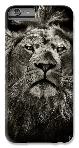 Lion Head iPhone 6 Plus Case - Graphic Black And White Lion Portrait by Mark Higgins