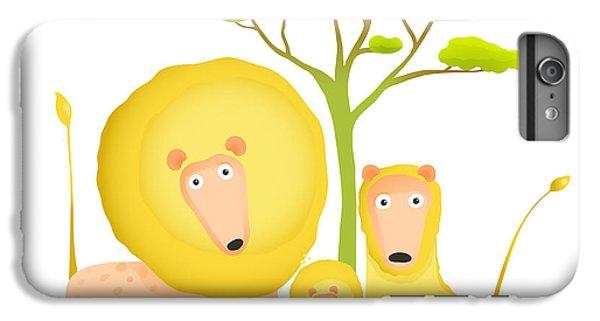 Lion iPhone 6 Plus Case - Lions Family Portrait Funny Cartoon by Popmarleo