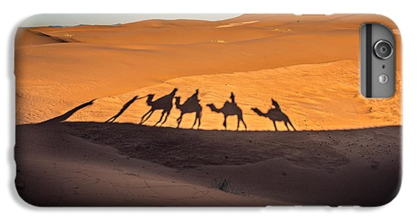 Africa iPhone 6 Plus Case - Long Shadows Of Camel Caravan In The by Luisa Puccini