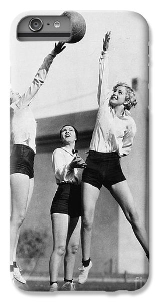 Workout iPhone 6 Plus Case - Three Women With Basketball In The Air by Everett Collection