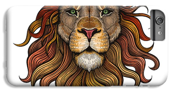 Lion Head iPhone 6 Plus Case - Vector Color Lion Illustration by Julia Waller